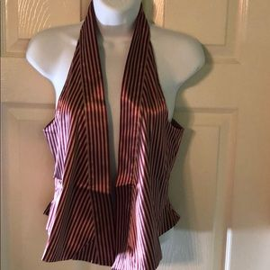 NWT Echo Design Red & Tan Striped Vest Small